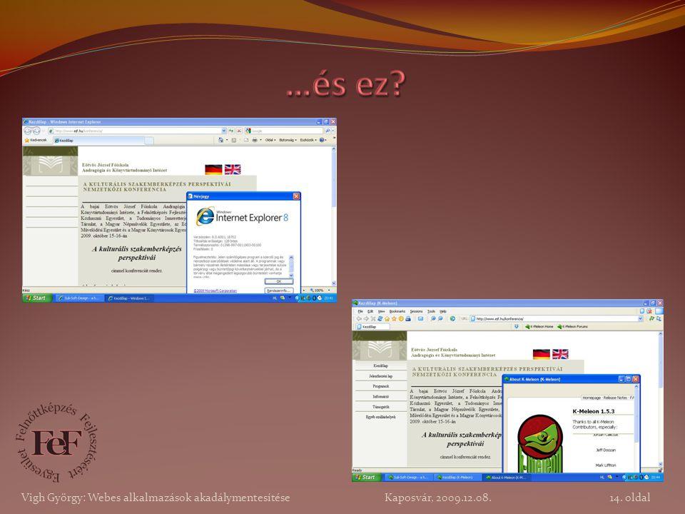 14. oldal Vigh György: Webes alkalmazások akadálymentesítése Kaposvár, 2009.12.08.