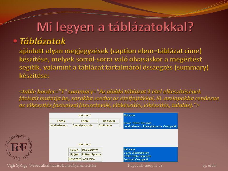 23. oldal Vigh György: Webes alkalmazások akadálymentesítése Kaposvár, 2009.12.08.