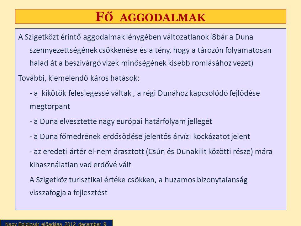 Nagy Boldizsár előadása 2012. december 9. F Ő AGGODALMAK A Szigetközt érintő aggodalmak lénygében változatlanok í8bár a Duna szennyezettségének csökke