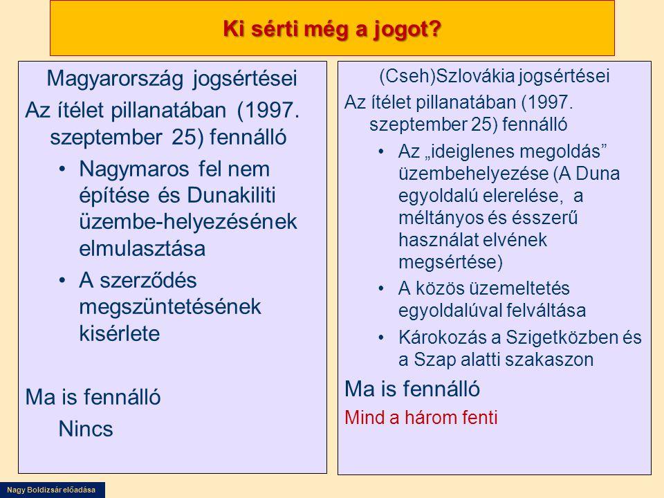 Nagy Boldizsár előadása Ki sérti még a jogot? Magyarország jogsértései Az ítélet pillanatában (1997. szeptember 25) fennálló •Nagymaros fel nem építés