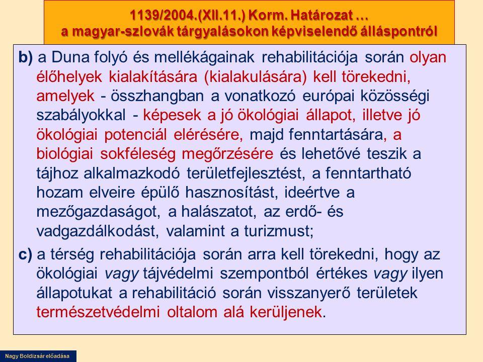 Nagy Boldizsár előadása 1139/2004.(XII.11.) Korm. Határozat … a magyar-szlovák tárgyalásokon képviselendő álláspontról b) a Duna folyó és mellékágaina