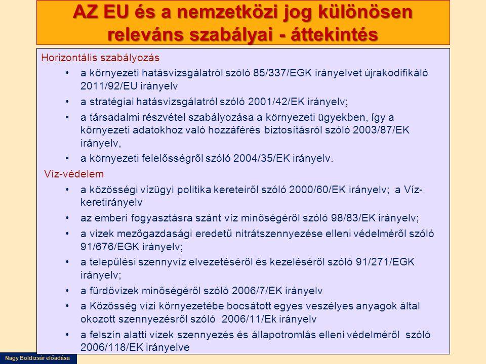 Nagy Boldizsár előadása AZ EU és a nemzetközi jog különösen releváns szabályai - áttekintés Horizontális szabályozás •a környezeti hatásvizsgálatról s