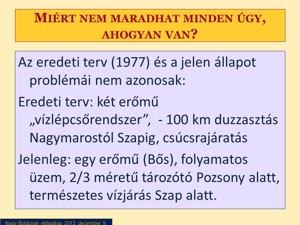 Nagy Boldizsár előadása 2012. december 9. M IÉRT NEM MARADHAT MINDEN ÚGY, AHOGYAN VAN ? Az eredeti terv (1977) és a jelen állapot problémái nem azonos