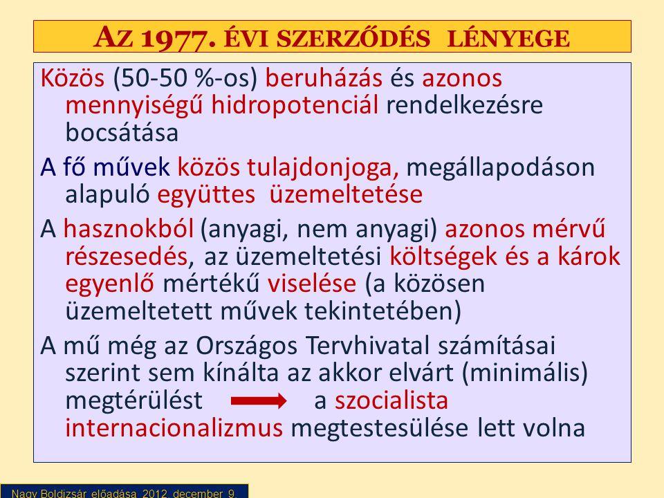 Nagy Boldizsár előadása 2012. december 9. A Z 1977. ÉVI SZERZŐDÉS LÉNYEGE Közös (50-50 %-os) beruházás és azonos mennyiségű hidropotenciál rendelkezés