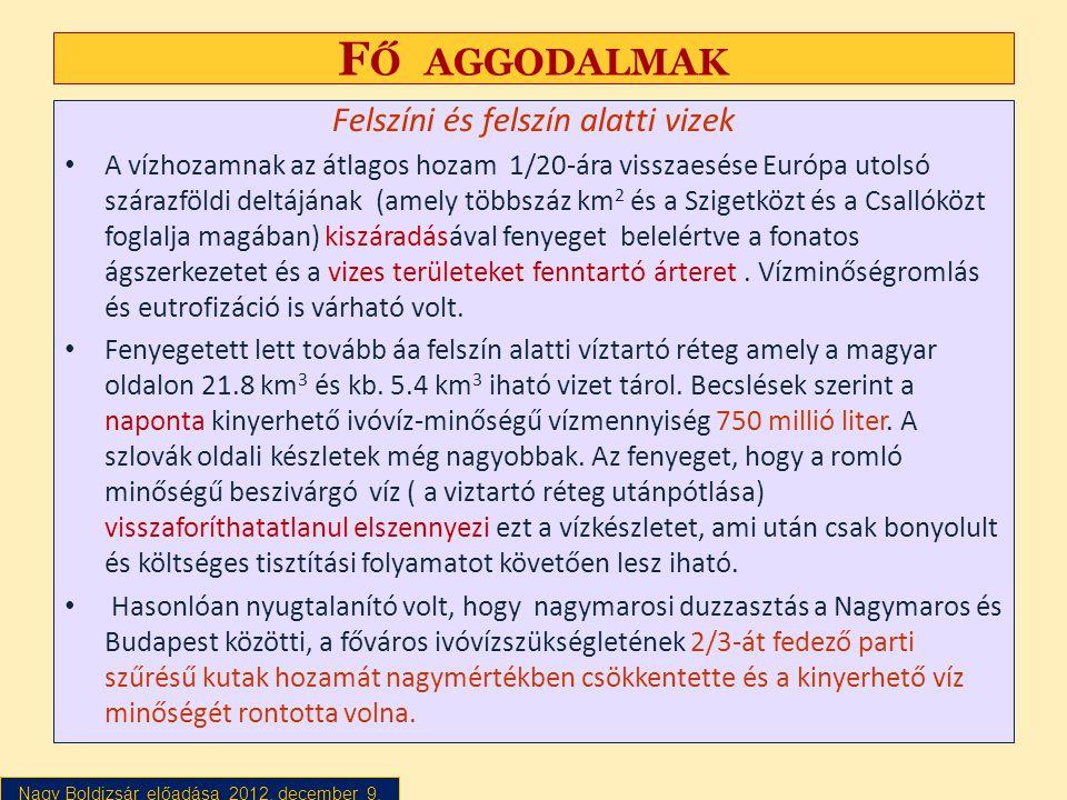 Nagy Boldizsár előadása 2012. december 9. F Ő AGGODALMAK Felszíni és felszín alatti vizek • A vízhozamnak az átlagos hozam 1/20-ára visszaesése Európa