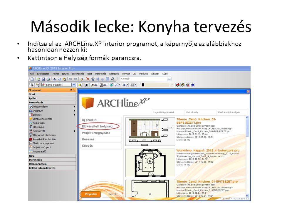 Második lecke: Konyha tervezés • Indítsa el az ARCHLine.XP Interior programot, a képernyője az alábbiakhoz hasonlóan nézzen ki: • Kattintson a Helyisé