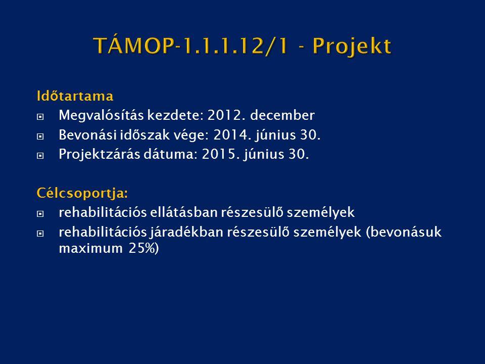 Id ő tartama  Megvalósítás kezdete: 2012. december  Bevonási id ő szak vége: 2014. június 30.  Projektzárás dátuma: 2015. június 30. Célcsoportja: