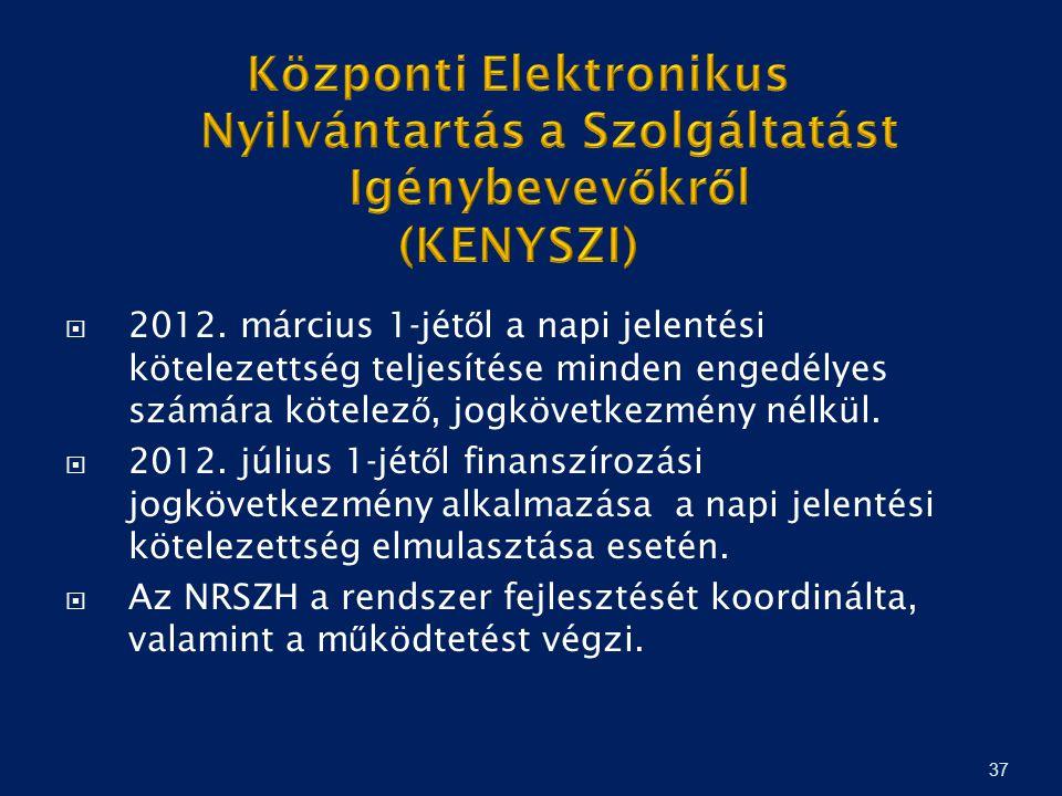 37  2012. március 1-jét ő l a napi jelentési kötelezettség teljesítése minden engedélyes számára kötelez ő, jogkövetkezmény nélkül.  2012. július 1-