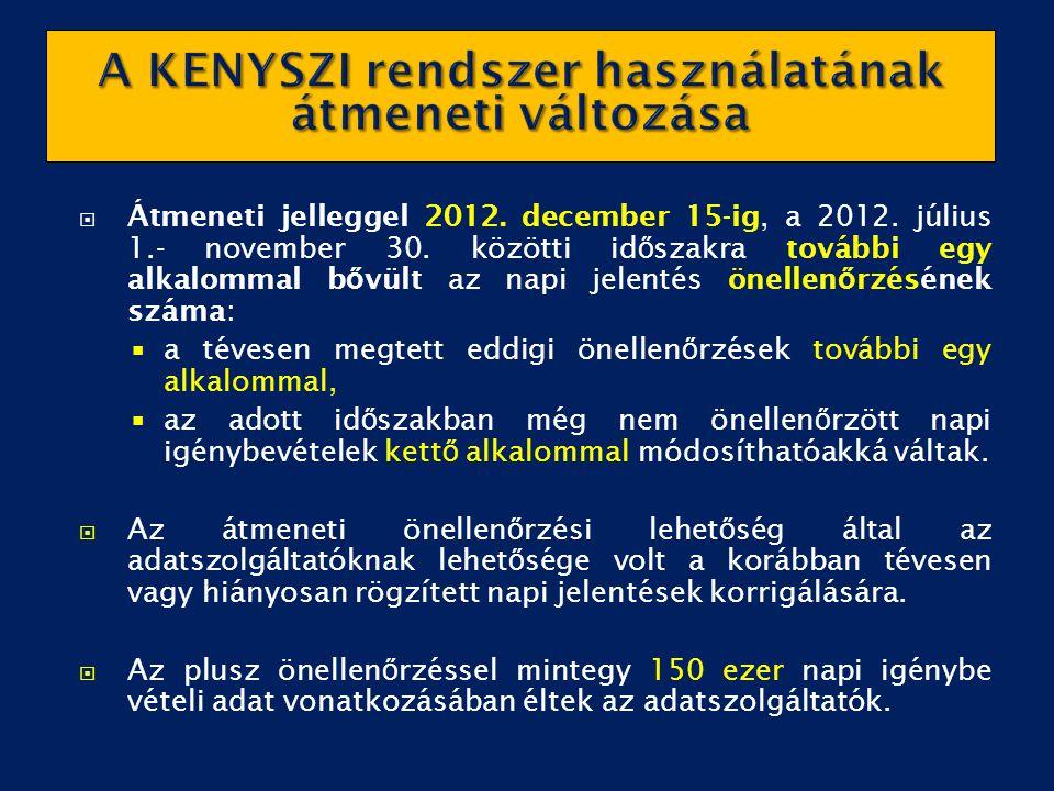  Átmeneti jelleggel 2012. december 15-ig, a 2012. július 1.- november 30. közötti id ő szakra további egy alkalommal b ő vült az napi jelentés önelle