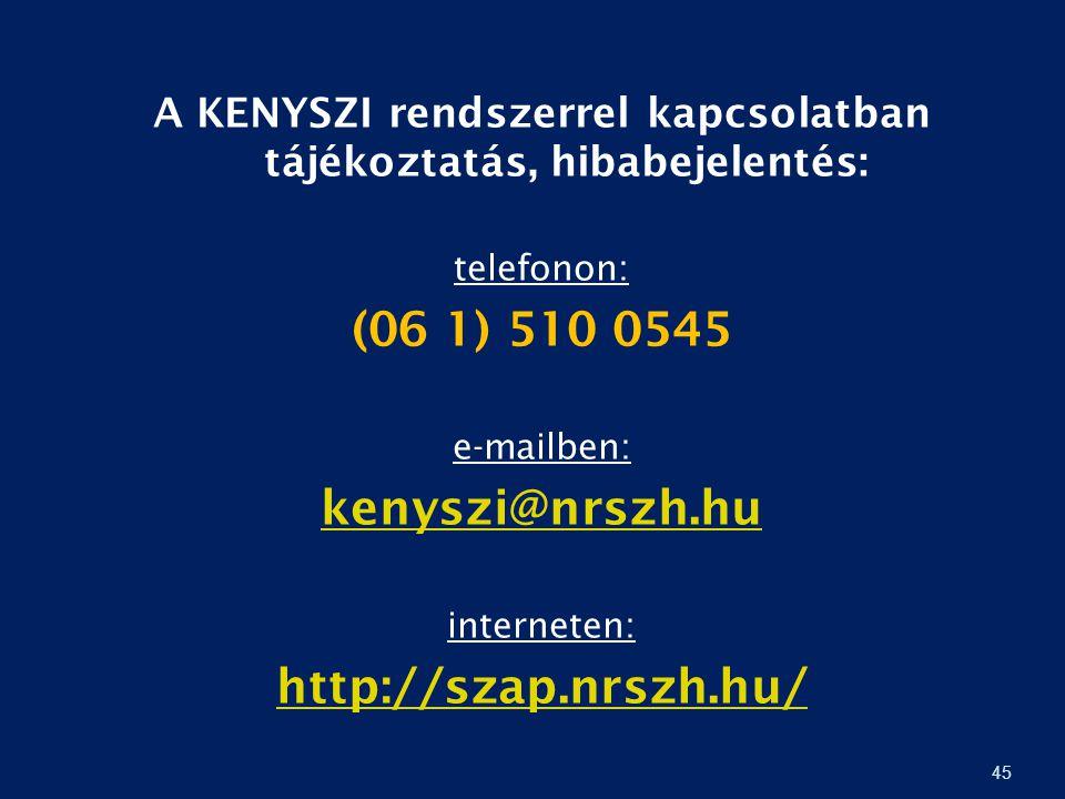 45 A KENYSZI rendszerrel kapcsolatban tájékoztatás, hibabejelentés: telefonon: (06 1) 510 0545 e-mailben: kenyszi@nrszh.hu interneten: http://szap.nrs