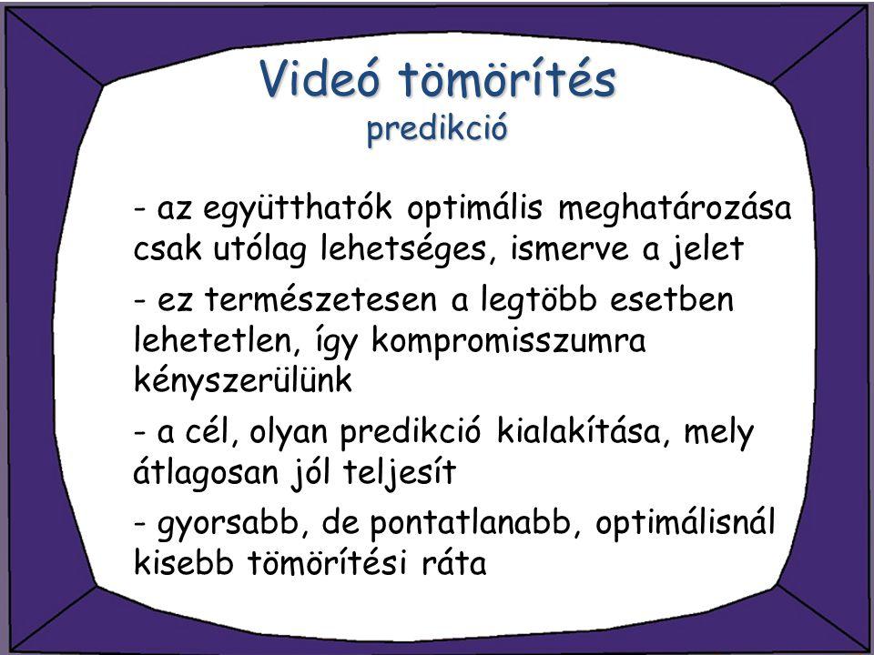 Videó tömörítés predikció - az együtthatók optimális meghatározása csak utólag lehetséges, ismerve a jelet - ez természetesen a legtöbb esetben lehete