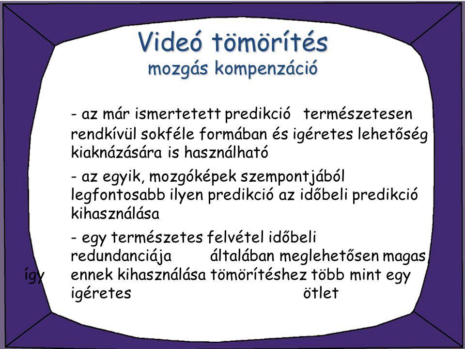 Videó tömörítés mozgás kompenzáció - az már ismertetett predikció természetesen rendkívül sokféle formában és igéretes lehetőség kiaknázására is haszn