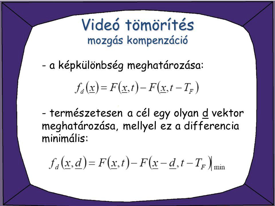 - a képkülönbség meghatározása: - természetesen a cél egy olyan d vektor meghatározása, mellyel ez a differencia minimális: