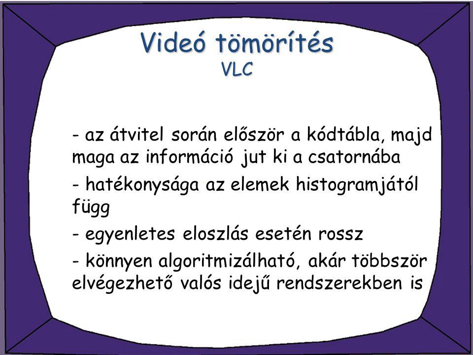 Videó tömörítés VLC - az átvitel során először a kódtábla, majd maga az információ jut ki a csatornába - hatékonysága az elemek histogramjától függ -