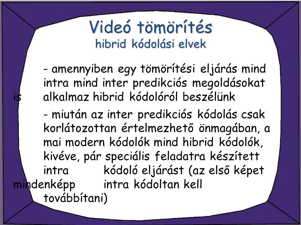 Videó tömörítés hibrid kódolási elvek - amennyiben egy tömörítési eljárás mind intra mind inter predikciós megoldásokat is alkalmaz hibrid kódolóról b