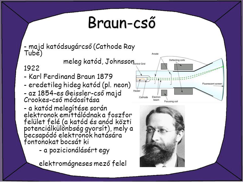 Braun-cső - majd katódsugárcső (Cathode Ray Tube) meleg katód, Johnsson 1922 - Karl Ferdinand Braun 1879 - eredetileg hideg katód (pl. neon) - az 1854