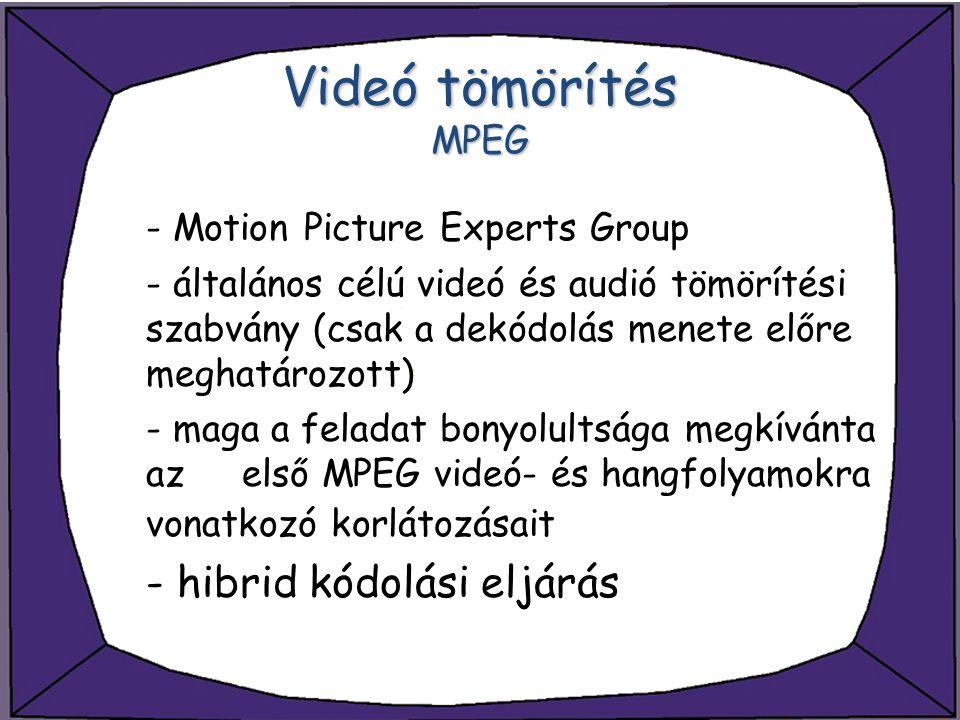 Videó tömörítés MPEG - Motion Picture Experts Group - általános célú videó és audió tömörítési szabvány (csak a dekódolás menete előre meghatározott)