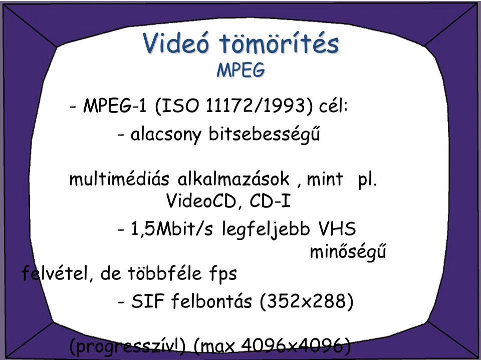 Videó tömörítés MPEG - MPEG-1 (ISO 11172/1993) cél: - alacsony bitsebességű multimédiás alkalmazások, mint pl. VideoCD, CD-I - 1,5Mbit/s legfeljebb VH