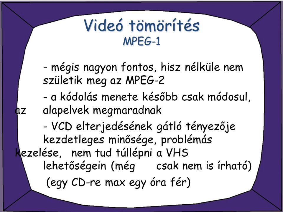 Videó tömörítés MPEG-1 - mégis nagyon fontos, hisz nélküle nem születik meg az MPEG-2 - a kódolás menete később csak módosul, az alapelvek megmaradnak