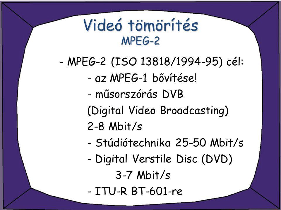 Videó tömörítés MPEG-2 - MPEG-2 (ISO 13818/1994-95) cél: - az MPEG-1 bővítése! - műsorszórás DVB (Digital Video Broadcasting) 2-8 Mbit/s - Stúdiótechn