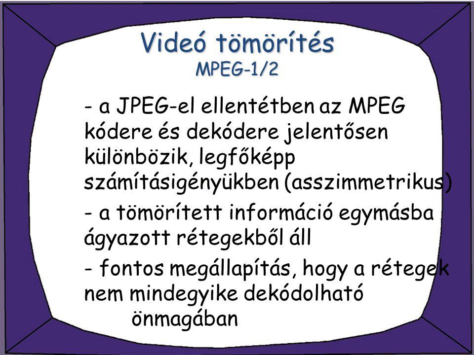 Videó tömörítés MPEG-1/2 - a JPEG-el ellentétben az MPEG kódere és dekódere jelentősen különbözik, legfőképp számításigényükben (asszimmetrikus) - a t