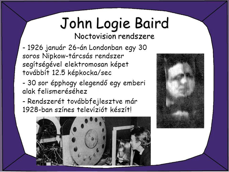 John Logie Baird Noctovisionrendszere John Logie Baird Noctovision rendszere - 1926 január 26-án Londonban egy 30 soros Nipkow-tárcsás rendszer segíts