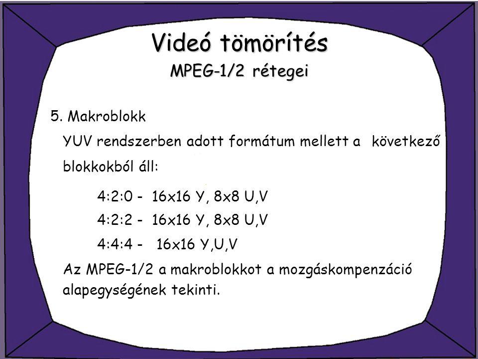 Videó tömörítés MPEG-1/2 rétegei 5. Makroblokk YUV rendszerben adott formátum mellett a következő blokkokból áll: 4:2:0 - 16x16 Y, 8x8 U,V 4:2:2 - 16x