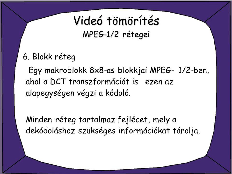 Videó tömörítés MPEG-1/2 rétegei 6. Blokk réteg Egy makroblokk 8x8-as blokkjai MPEG-1/2-ben, ahol a DCT transzformációt is ezen az alapegységen végzi