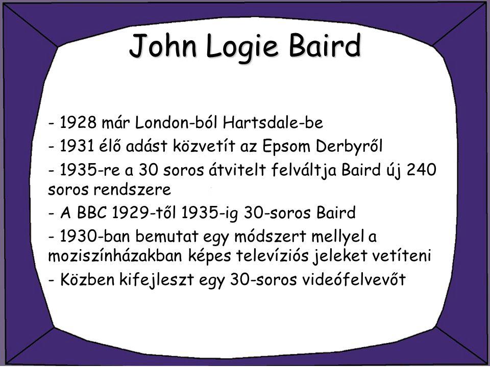 John Logie Baird - 1928 már London-ból Hartsdale-be - 1931 élő adást közvetít az Epsom Derbyről - 1935-re a 30 soros átvitelt felváltja Baird új 240 s