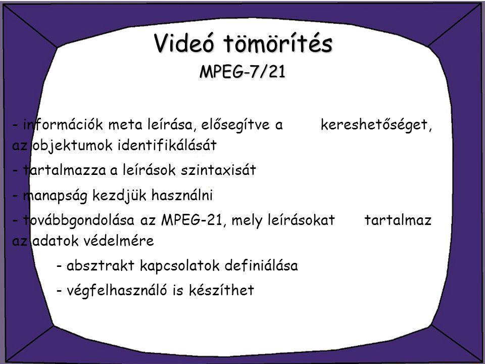 Videó tömörítés MPEG-7/21 - információk meta leírása, elősegítve a kereshetőséget, az objektumok identifikálását - tartalmazza a leírások szintaxisát