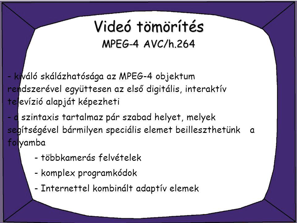Videó tömörítés MPEG-4 AVC/h.264 - kiváló skálázhatósága az MPEG-4 objektum rendszerével együttesen az első digitális, interaktív televízió alapját ké