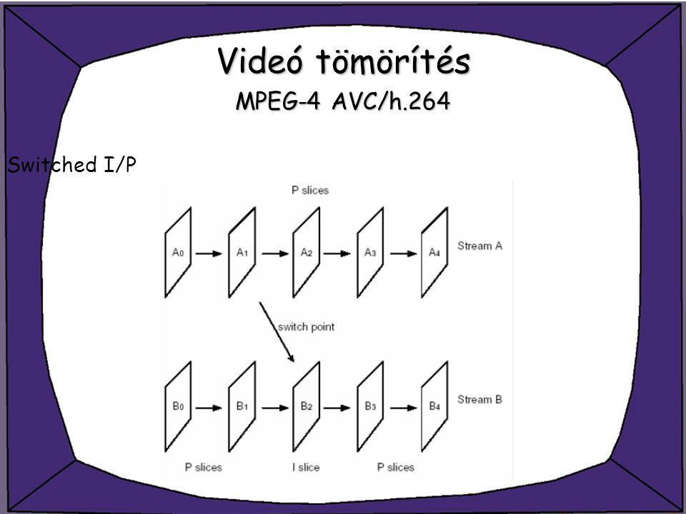Videó tömörítés MPEG-4 AVC/h.264 Switched I/P