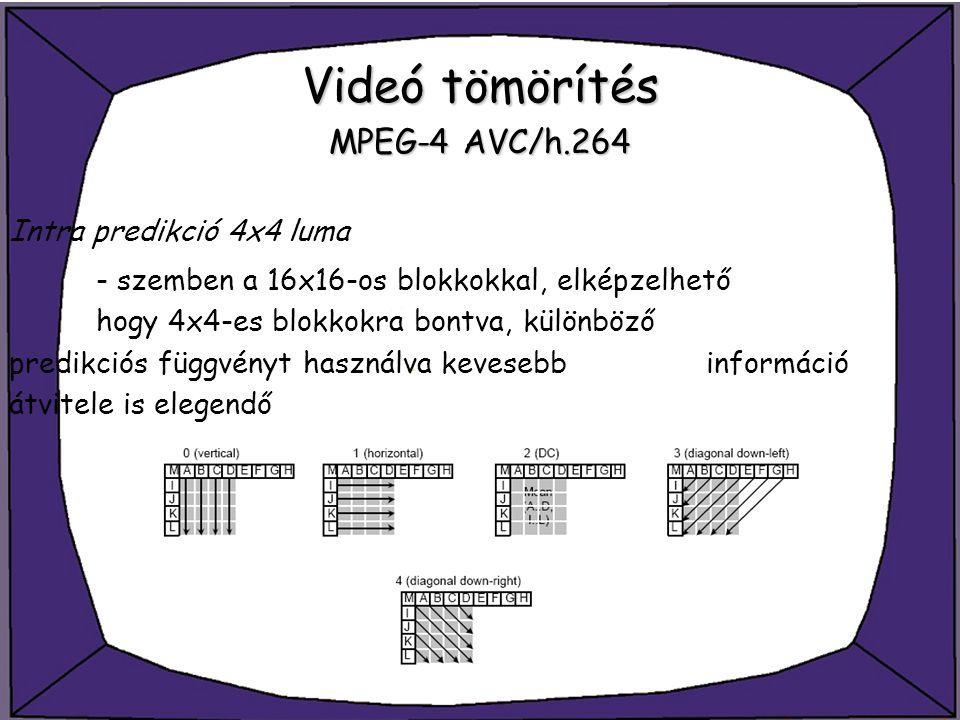 Videó tömörítés MPEG-4 AVC/h.264 Intra predikció 4x4 luma - szemben a 16x16-os blokkokkal, elképzelhető hogy 4x4-es blokkokra bontva, különböző predik