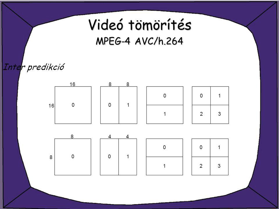 Videó tömörítés MPEG-4 AVC/h.264 Inter predikció