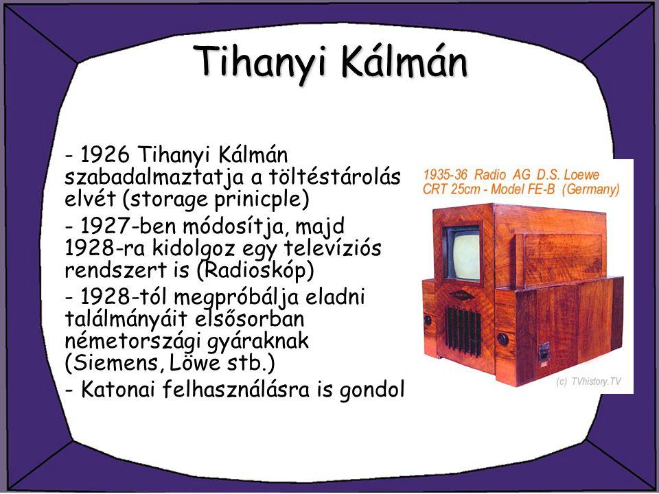 Tihanyi Kálmán - 1926 Tihanyi Kálmán szabadalmaztatja a töltéstárolás elvét (storage prinicple) - 1927-ben módosítja, majd 1928-ra kidolgoz egy televí