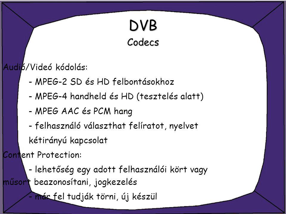 DVB Codecs Audió/Videó kódolás: - MPEG-2 SD és HD felbontásokhoz - MPEG-4 handheld és HD (tesztelés alatt) - MPEG AAC és PCM hang - felhasználó válasz