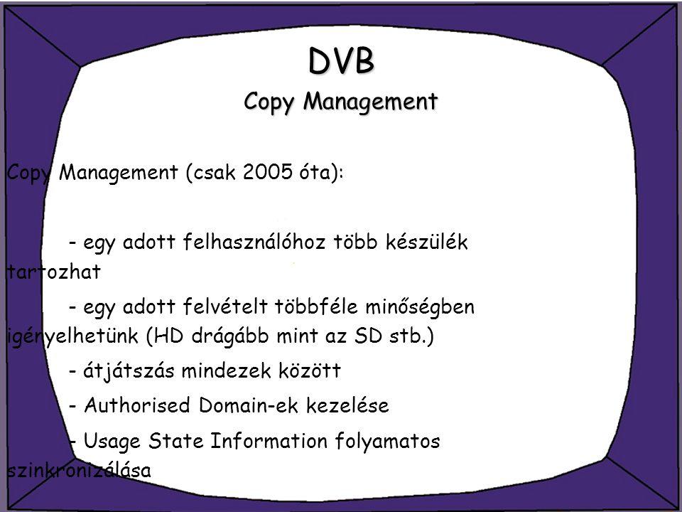 DVB Copy Management Copy Management (csak 2005 óta): - egy adott felhasználóhoz több készülék tartozhat - egy adott felvételt többféle minőségben igén
