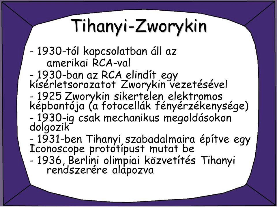 Tihanyi-Zworykin - 1930-tól kapcsolatban áll az amerikai RCA-val - 1930-ban az RCA elindít egy kísérletsorozatot Zworykin vezetésével - 1925 Zworykin