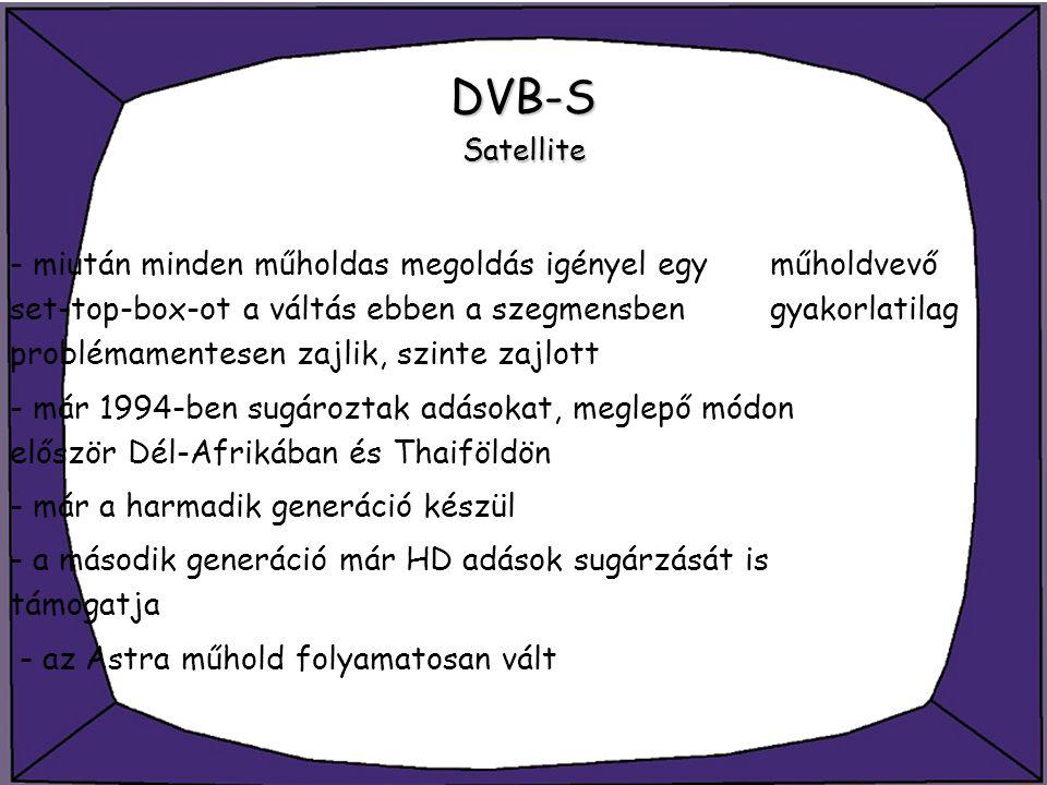 DVB-S Satellite - miután minden műholdas megoldás igényel egy műholdvevő set-top-box-ot a váltás ebben a szegmensben gyakorlatilag problémamentesen za