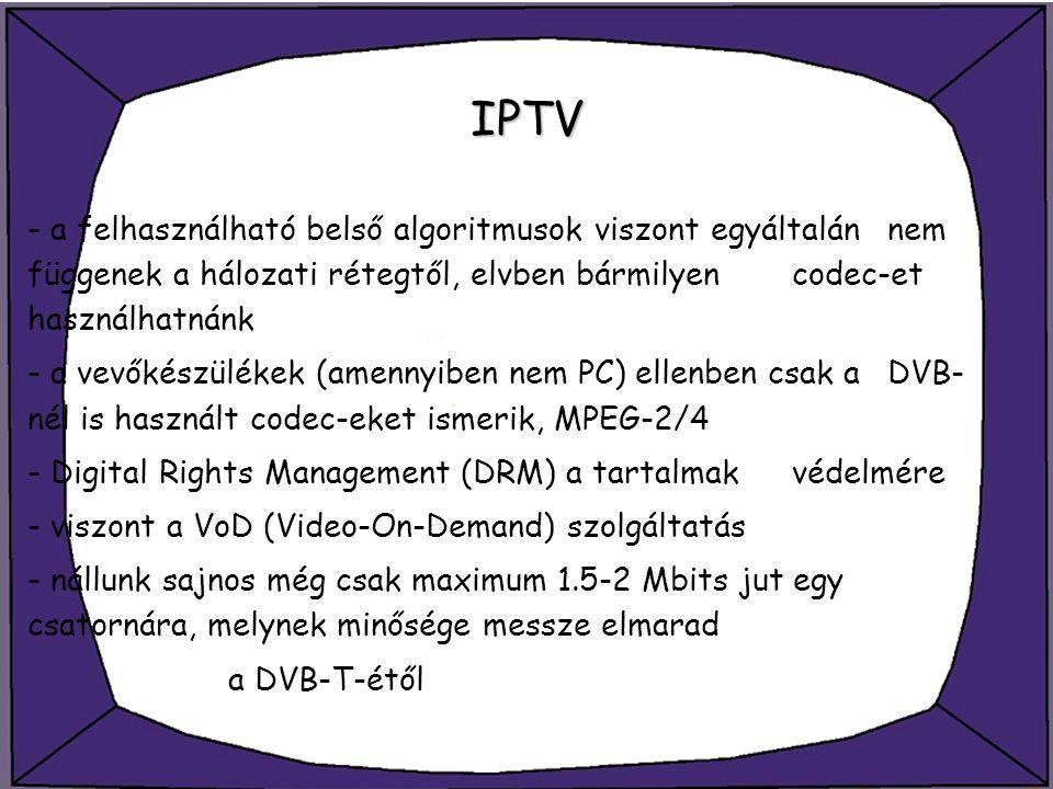 IPTV - a felhasználható belső algoritmusok viszont egyáltalán nem függenek a hálozati rétegtől, elvben bármilyen codec-et használhatnánk - a vevőkészü