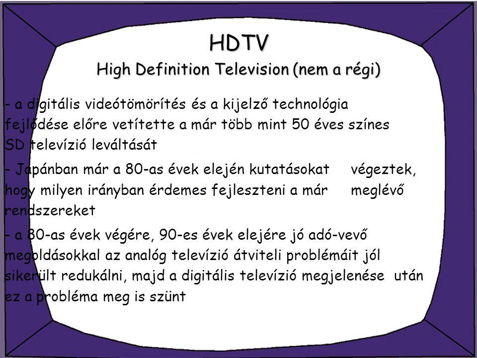 HDTV High Definition Television (nem a régi) - a digitális videótömörítés és a kijelző technológia fejlődése előre vetítette a már több mint 50 éves s
