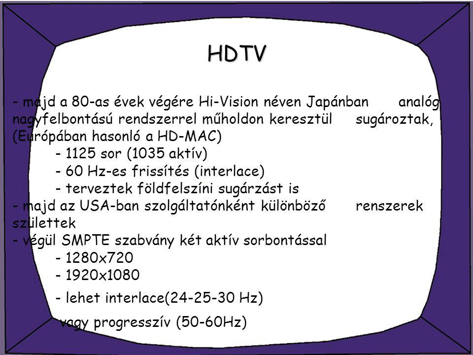 HDTV - majd a 80-as évek végére Hi-Vision néven Japánban analóg nagyfelbontású rendszerrel műholdon keresztül sugároztak, (Európában hasonló a HD-MAC)