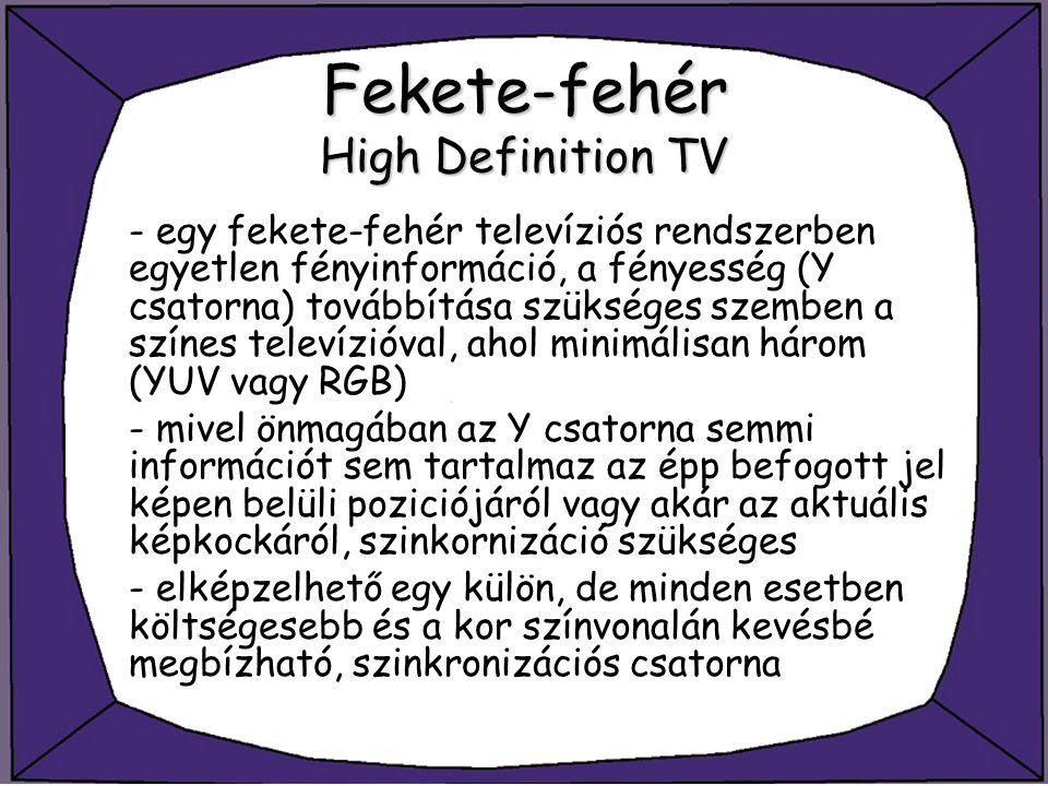 Fekete-fehér High Definition TV - egy fekete-fehér televíziós rendszerben egyetlen fényinformáció, a fényesség (Y csatorna) továbbítása szükséges szem