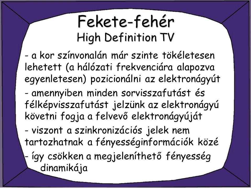 Fekete-fehér High Definition TV - a kor színvonalán már szinte tökéletesen lehetett (a hálózati frekvenciára alapozva egyenletesen) pozicionálni az el