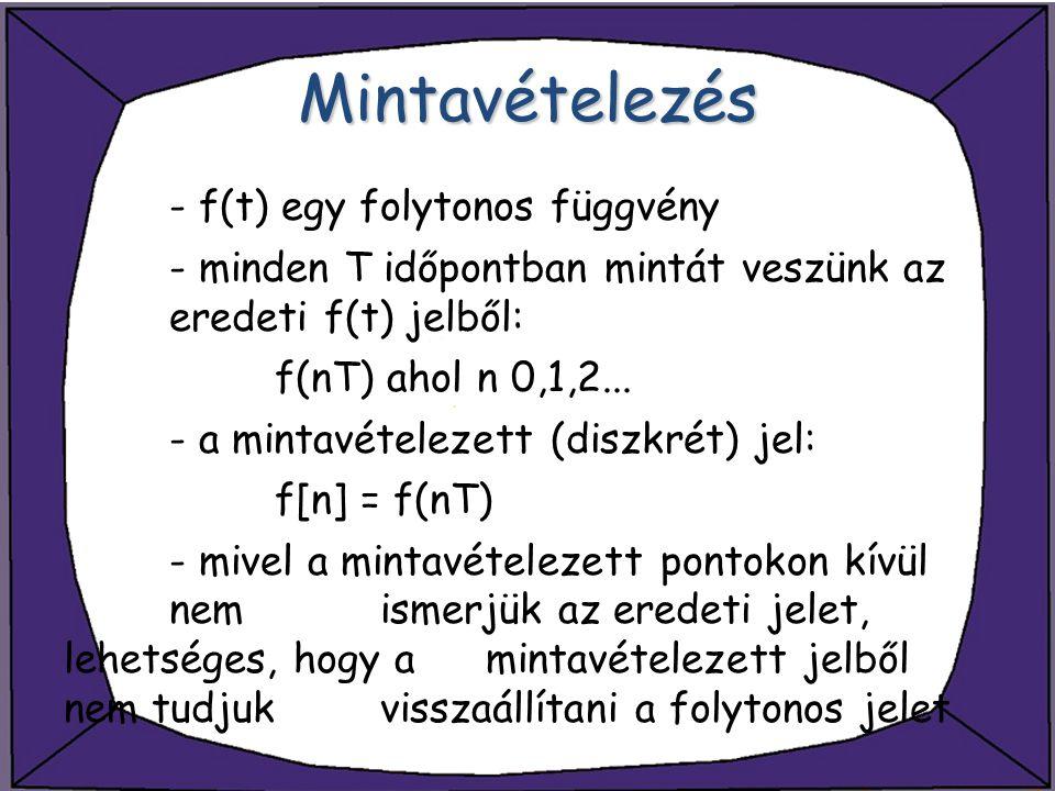 Mintavételezés - f(t) egy folytonos függvény - minden T időpontban mintát veszünk az eredeti f(t) jelből: f(nT) ahol n 0,1,2... - a mintavételezett (d