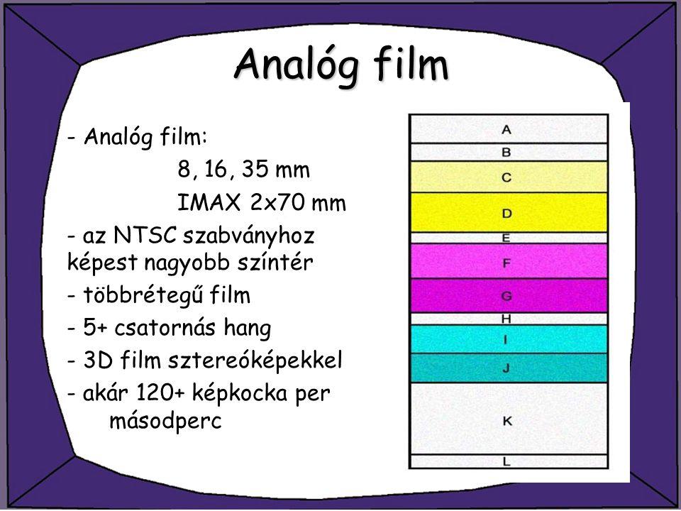 Analóg film - Analóg film: 8, 16, 35 mm IMAX 2x70 mm - az NTSC szabványhoz képest nagyobb színtér - többrétegű film - 5+ csatornás hang - 3D film szte