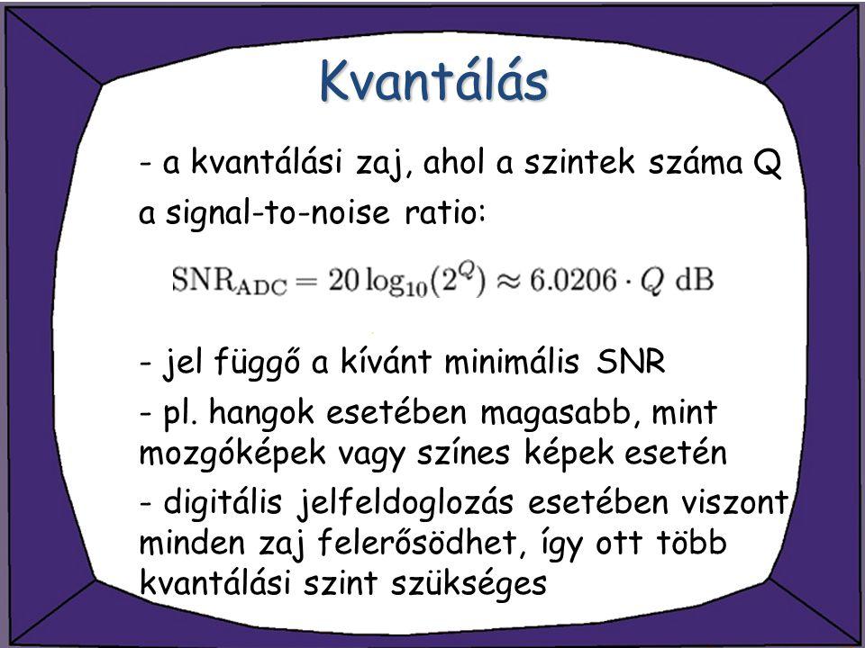 Kvantálás - a kvantálási zaj, ahol a szintek száma Q a signal-to-noise ratio: - jel függő a kívánt minimális SNR - pl. hangok esetében magasabb, mint