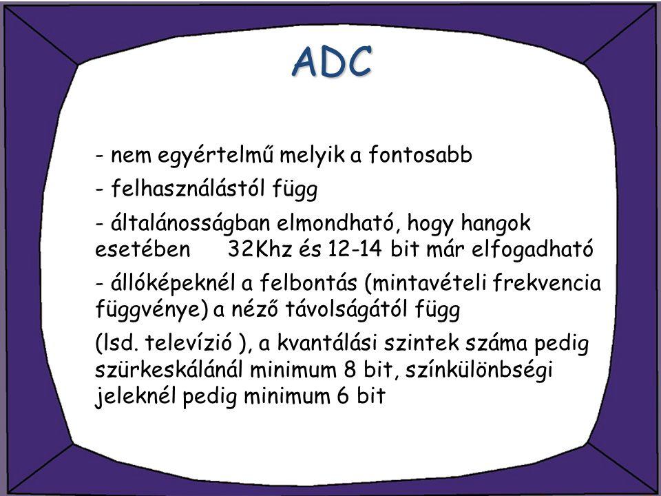 ADC - nem egyértelmű melyik a fontosabb - felhasználástól függ - általánosságban elmondható, hogy hangok esetében 32Khz és 12-14 bit már elfogadható -