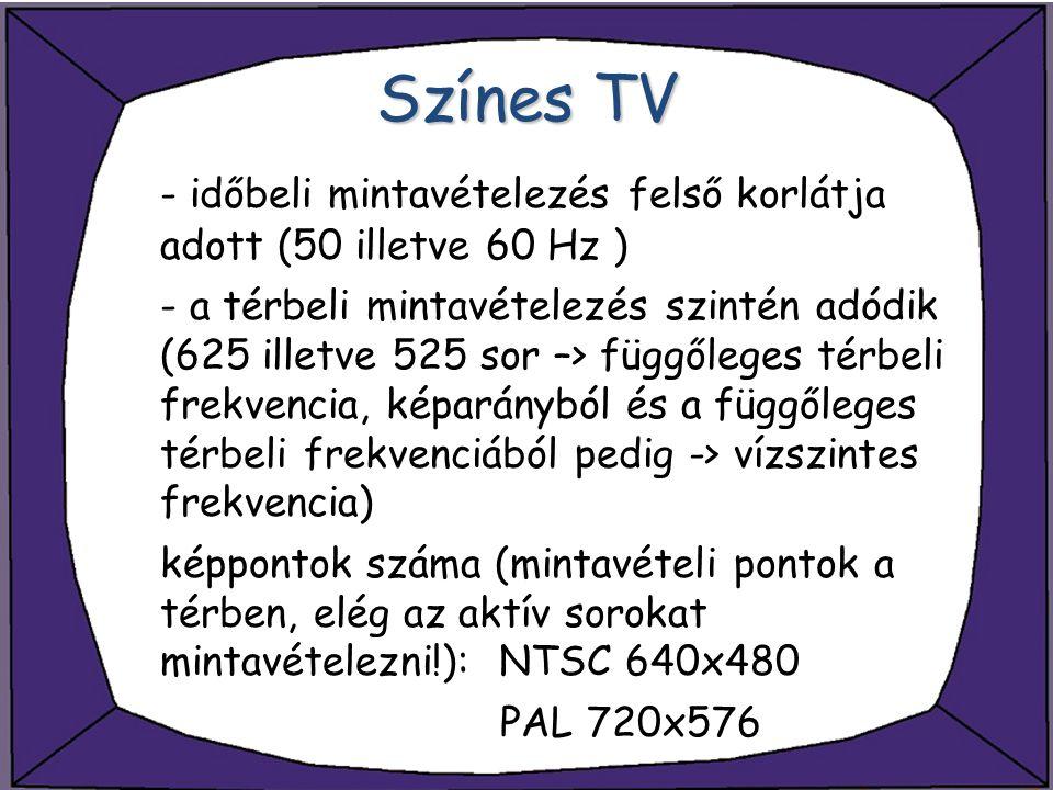 Színes TV - időbeli mintavételezés felső korlátja adott (50 illetve 60 Hz ) - a térbeli mintavételezés szintén adódik (625 illetve 525 sor –> függőleg