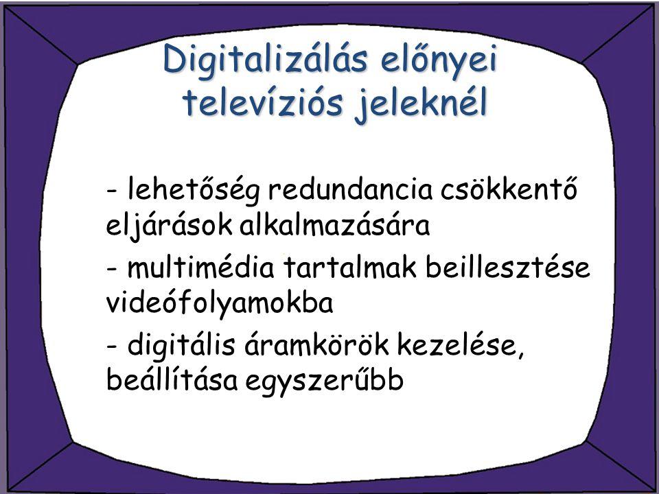 Digitalizálás előnyei televíziós jeleknél - lehetőség redundancia csökkentő eljárások alkalmazására - multimédia tartalmak beillesztése videófolyamokb